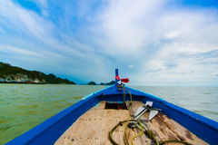 Ship Nose Front View Long tail boat at the sea Royalty Free Stock Image