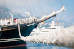 Ship nose with rope. Royalty Free Stock Images