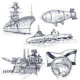 Ship with nuclear rocket. Nuclear weapons. At the top is a dish receiving a signal. Vector illustration Stock Image