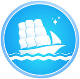 Ship and ocean. Sailing ship in the ocean in the blue circle royalty free illustration