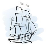Ship in the ocean. Sailing ship in the ocean vector format Stock Images