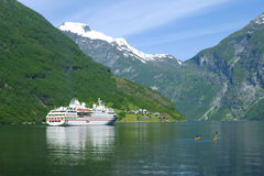 Ship in the ocean, Geiranger fjord Royalty Free Stock Image