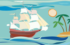 Ship. In the ocean near the island royalty free illustration