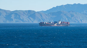 A ship on the ocean off the coast of California Stock Photo