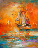 Ship in ocean. Original oil painting of sail ship and sea on canvas.Golden Sunset over ocean.Modern Impressionism Royalty Free Stock Photography