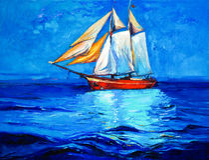 Ship in ocean Stock Images