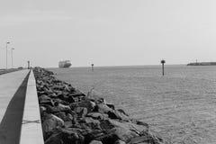 Ship Ocean Port Harbor Entry Black White Stock Images