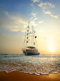 Ship in the ocean. Sailing ship on the waves of Indian ocean Stock Image