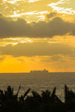 Ship Ocean Silhouetted Stock Photography