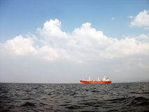 Ship. In ocean water Stock Image