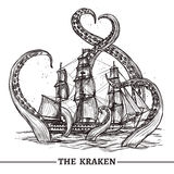 Ship And Octopus. Giant octopus catches old style sail ship hand drawn vector illustration Royalty Free Stock Image