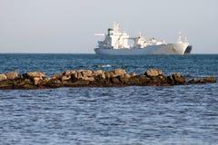 Ship off Punta San Garcia, near Algeciras. Stock Photo