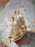 Ship on old map Stock Photos