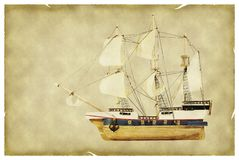 Ship on old paper. Old paper with shop model isolated on white Royalty Free Stock Photos