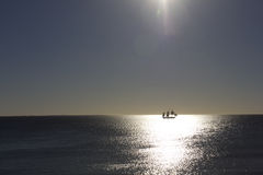 Ship in the open sea. Sailing ship in the open sea, Cottlesloe Beach, Perth, Western Australia Royalty Free Stock Photo