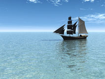 Ship out at sea on a sunny day. Royalty Free Stock Photo