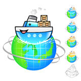 Ship of overseas delivery Illustration. Product and Distribution Stock Photography