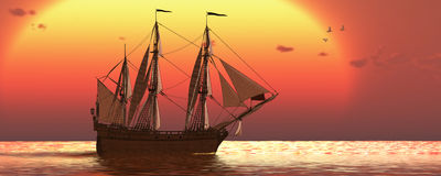 Ship på solnedgången Royaltyfria Foton