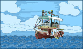 Ship (paddle-boat). Illustration of a paddle-boat  in the sea. The vector file is in AI-EPS8 format Royalty Free Stock Images