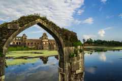 Ship Palace At Mandu India. India, Mandu - Jahaz Mehal/Ship Palace Situated between two artificial lakes, this two storied architectural marvel is so named as it stock image