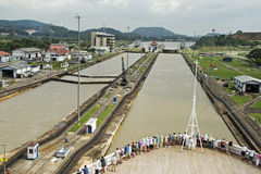 Ship in Panama Canal lock Stock Images