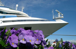 Ship and Pansy. White ship and lilac flowers Stock Image