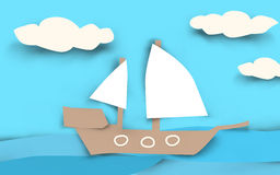 Ship Paper Cut. Ship on sea in the look of paper cuts put together. (Illustration Stock Photo