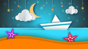 Ship, paper landscape, sea, cloud, star cartoon illustration. Ship, paper landscape, sea, cloud star cartoon illustration Vector eps 10 Royalty Free Stock Photography