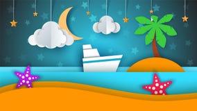 Ship, paper landscape, sea, cloud, star cartoon illustration. Ship, paper landscape, sea, cloud star cartoon illustration Vector eps 10 Royalty Free Stock Image
