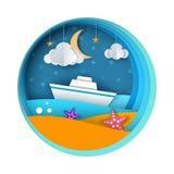 Ship, paper landscape, sea, cloud, star cartoon illustration. Ship, paper landscape, sea, cloud star cartoon illustration Vector eps 10 Stock Images