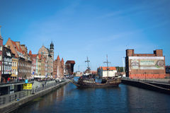 Ship parking in harbor at Motlawa river, Gdansk, Poland Royalty Free Stock Photography