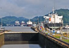 Ship passes through the Panama Channel Locks Stock Image
