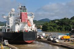 Ship passes through the Panama Channel Locks Royalty Free Stock Photos