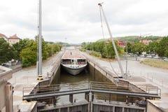 Ship passing through lock Royalty Free Stock Photos