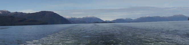 Ship passing through the Patagonian Channels Stock Images