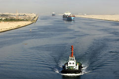 Ship passing through the Suez Canal Royalty Free Stock Images