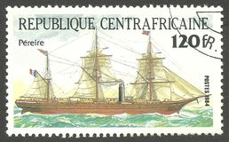 Ship Pericles, Pereire. Central African Republic - stamp printed 1984, Multicolor issue of offset printing, Topic Sailing ships, Series Packet Ship Pericles Royalty Free Stock Images