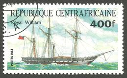 Ship Pericles, Royal William. Central African Republic - stamp printed 1984, Multicolor issue of offset printing, Topic Sailing ships, Series Packet Ship Royalty Free Stock Photos