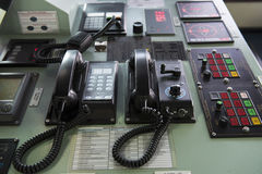 Ship Phone in tanker black. Stock Photo