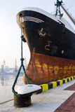 Ship at the pier. Bow of the cargo ship at the pier Stock Image