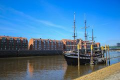 Ship pier at Bremenhaven. Sightseeing place of Bremen at Germany where have Big ship parking at Bremenhaven in Spring season Stock Photo