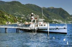 Ship at the pier on Lake Como Royalty Free Stock Photos