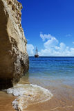 Ship. Pirate ship on the coast Royalty Free Stock Photography