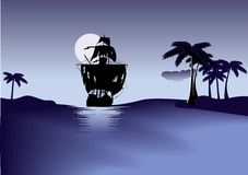 Ship of pirates on blue sea. Black ship of pirates. Blue sea and sky. Vector illustration stock illustration