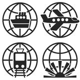 Ship Plane Train and Globe Sign. Vector. Royalty Free Stock Photos