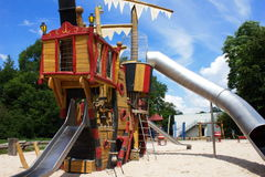 Ship playground. Playground without children with pirate ship Stock Photo