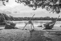 Ship or Playground. Wooden playground by the water Stock Photography