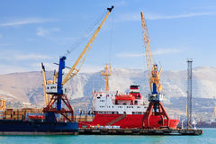 Ship in a port Stock Images
