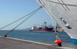 Ship in port. Cargo in port of tunis tunisia in the sea royalty free stock photo