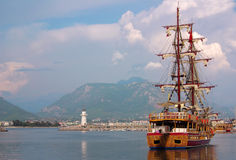 Ship in the port of Alanya, Turkey Stock Image